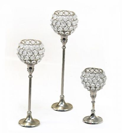 Single Stem Crystal Tealight Holders (set of 3)