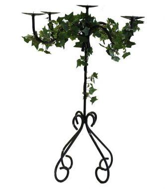 Quad Stem Candelabra - 75cm with silk ivy