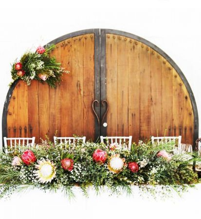 Rustic Timber Doors Bridal Table Backdrop