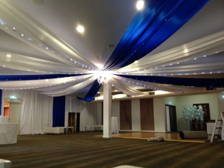 Blue and White Ceiling Silks , Fairy Lights and Chandelier