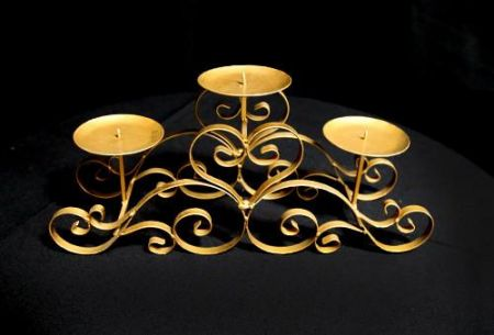 Bridal table Gold 3 Branch Low Candelabra