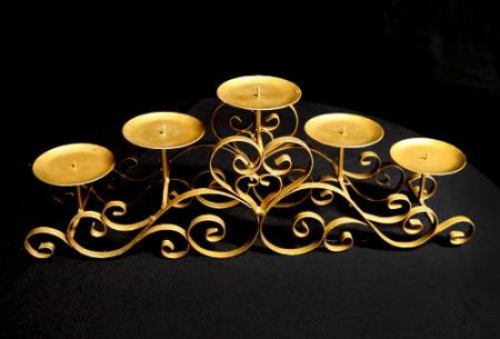 Gold Low 5 branch Candelabra