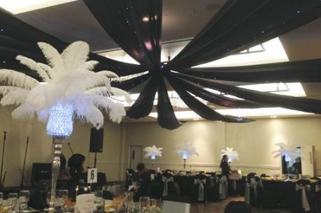 Black Ceiling Silks and Fairy Lights