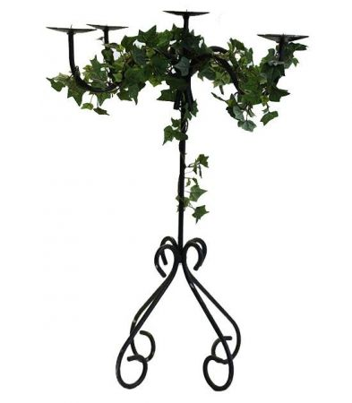 Quad Stem Candelabra - 75cm with silk ivy