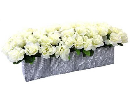 Crystal and Silk Flowers -  Long Bridal Table Box
