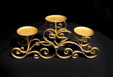 Bridal table Gold 3 Branch Low Candelabra